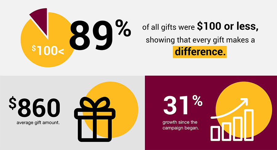 88% of all gifts were $100 or less showing that every gift makes a difference. $860 average gift amount. 31% growth since the campaign began.